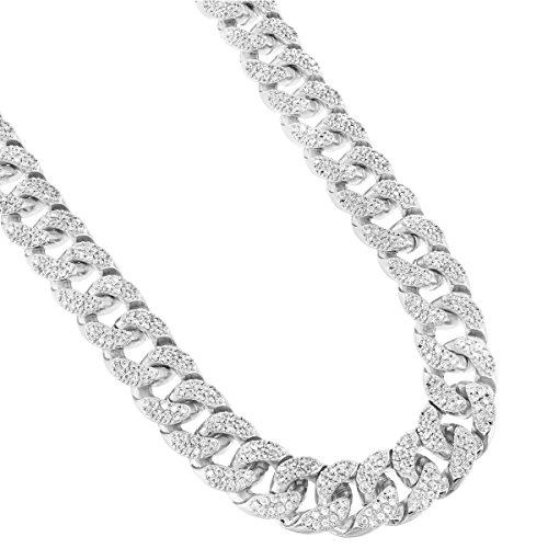 Cuban Master (Miami Cuban Link 18 INCH CHAIN 15MM Necklace For Men Iced Out Lab Diamonds Silver Tone Heavy)
