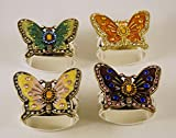 Hans Turnwald Set of Four Silver Plated Napkin Rings with Jeweled Butterflies