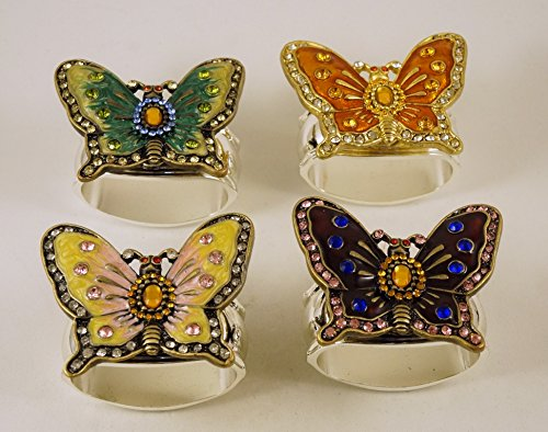 Hans Turnwald Set of Four Silver Plated Napkin Rings with Jeweled Butterflies by Hans Turnwald