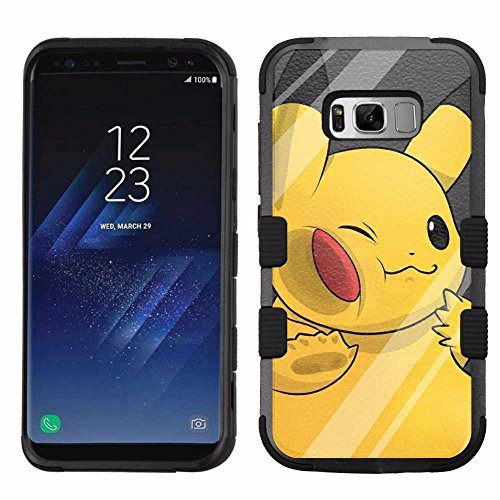 for Samsung Galaxy S8 Plus, Hard+Rubber Dual Layer Hybrid Heavy-Duty Rugged Armor Cover Case – Pokemon Pikachu #W