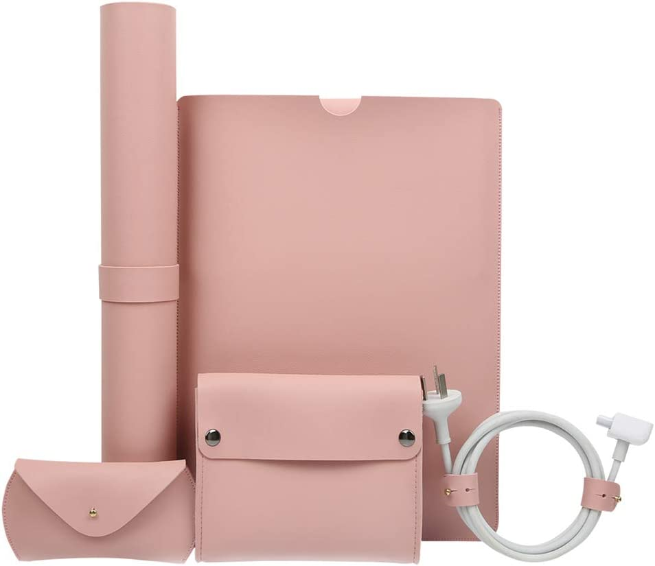 13.3 Inch Laptop Sleeve Case, MacBook air 13 inch case,5 in 1 Laptop Bag Accessories Kit with Leather Office Desk Pad, Compatible with 13.3 2020 2019 2017 MacBook Air/Pro (Pink)
