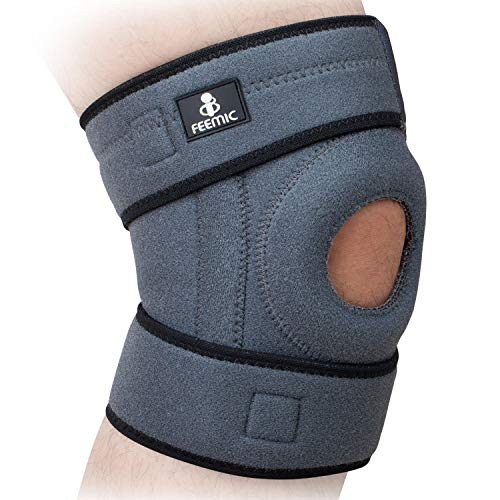 BSUEA Compression Knee Brace Support for Men & Women,Non-Slip Breathable Adjustable Open Patella Stabilizer Knee Brace Sleeve for Meniscus Tear, Arthritis, ACL, Running, Sports and Injury Recovery