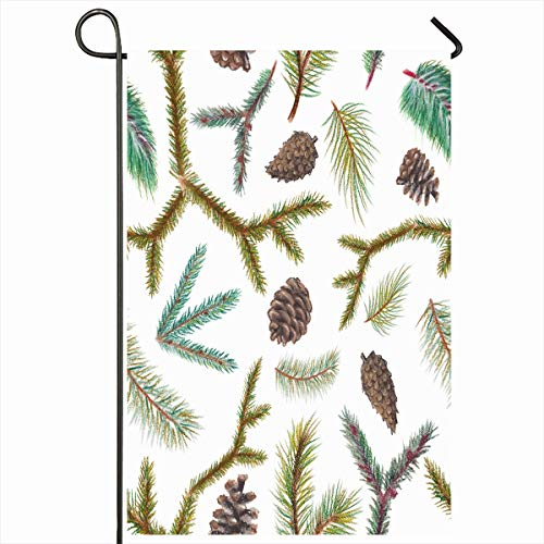 Ahawoso Outdoor Garden Flag 12x18 Inches Whitetree Forest Green Bloom Pastel Spruce Branches December Nature Watercolor Branch Cedar Seasonal Double Sides Home Decorative House Yard Sign
