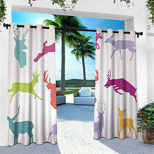 Hengshu Antlers, Exterior/Outside Curtains,Silhouette Collection of Jumping Running Walking Standing Deers Wilderness Nature, W84 x L84 Inch, Green Teal