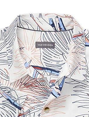 Van Heusen Men's Air Tropical Short Sleeve Button Down Poly Rayon Shirt