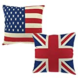 union jack cushion - Luxbon Pair of Union Jack Flag and USA American Flag Stars & Stripes Sofa Cushion Cover Durable Cotton Linen Throw Pillow Cover Flag Lover Gift 18