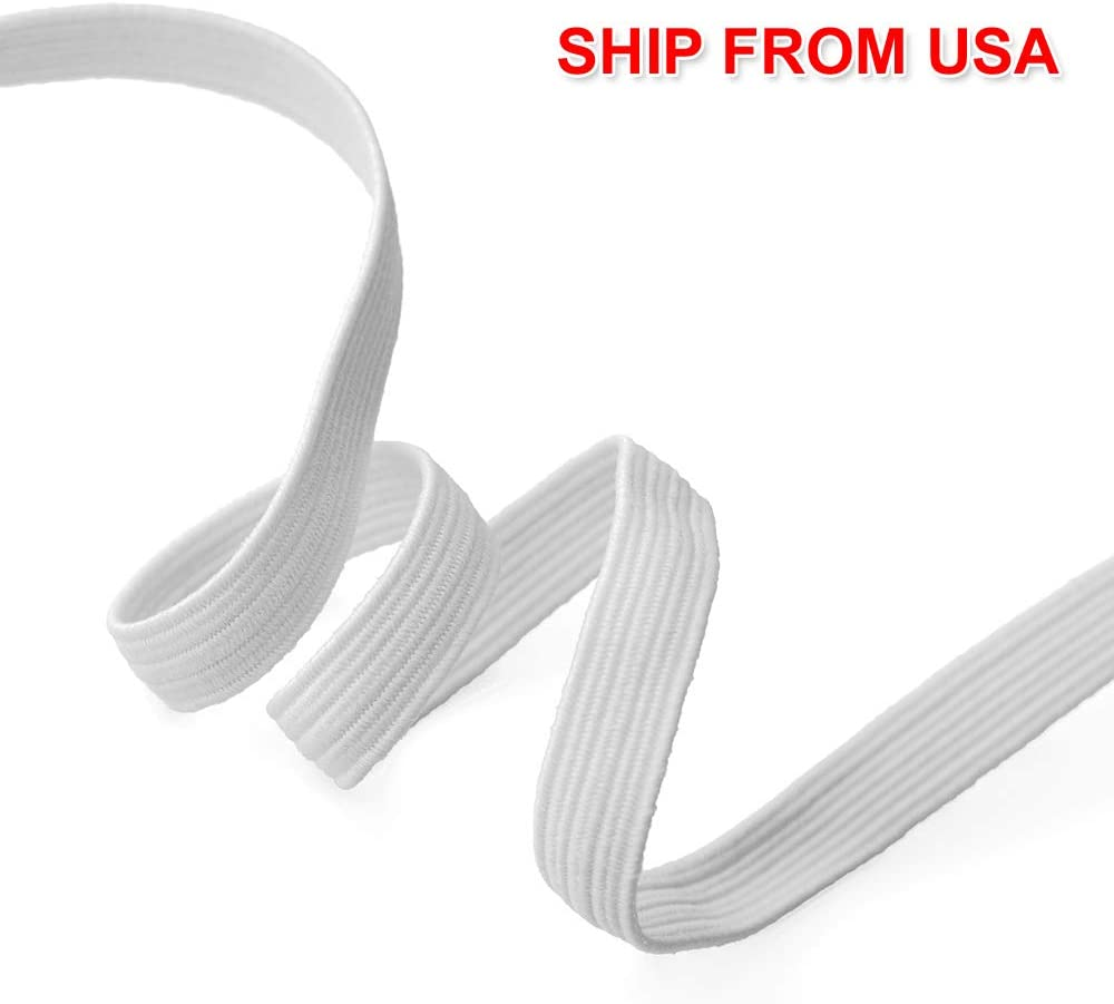 Mask Band by 5-Yards White Trim 1//4 Elastic Stretch Flat Band SP-2715