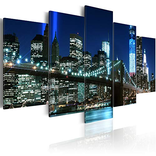 Blue Canvas Wall Art Prints Modern Abstract Cityscape Brooklyn Bridge Decor Framed 5 Panels NYC Picture Contemporary Home Office Decorations for Bedroom Ready to Hang