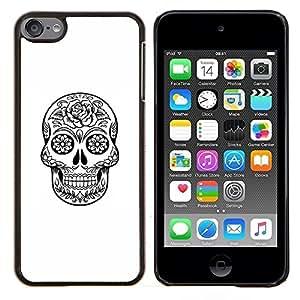 Caucho caso de Shell duro de la cubierta de accesorios de protecci¨®n BY RAYDREAMMM - Apple iPod Touch 6 6th Touch6 - Muerte Cr¨¢neo Negro tinta blanca de metal