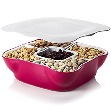 Creative Multi Sectional Snack Serving Tray Set with Lid. Can Hold Dried Fruits, Nuts, Candies, and More. Server Tray/Snack Dish/Serving Bowl Set.