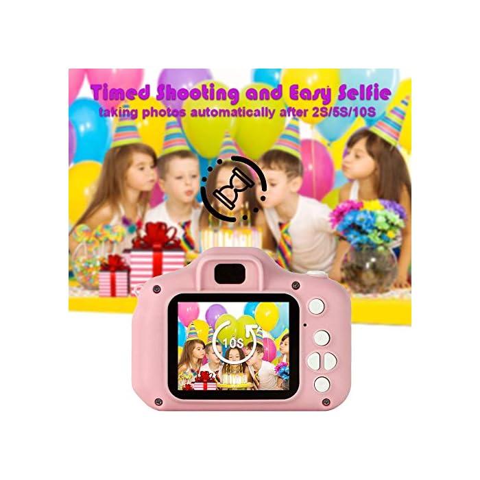 5117EoJyiFL ❀【Video de 8MP y 1080P】 Pantalla IPS mejorada de 2.0 pulgadas recargable, esta cámara para niños viene con 8 mega pixeles incorporados en un lente poderoso frontal y posterior,en comparación con otras cámaras para niños, tiene una calidad de fotografía mucho superior. La cámara de video de juguete graba videos de hasta 1920x1080p, los niños pueden grabar cada uno de sus momentos felices en cualquier momento. ❀【Diseño a Prueba de Golpes y Material Ecológica】La cámara para niños en miniatura utiliza un diseño ecológico, no tóxico y atractivo, pequeño y liviano, muy fácil de transportar. El cordón desmontable les permite a sus hijos jugar con la cámara en cualquier momento, no solo para que aprendan a tomar fotografías, sino para capturar sus momentos felices, permitiendo que usted y sus hijos tengan una relación más cercana. ❀【Múltiples Funciones, más Diversión para los Niños】Viene con más funciones, captura de fotos, grabación de video, juegos, temporizador, zoom digital 3X, enfoque automático, etc. 6 efectos de filtro diferentes, 28 efectos de marco de fotos incorporados, aprovechando al máximo su creatividad e imaginación para hacer realidad el sueño de un pequeño fotógrafo.