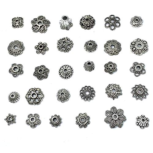 (JIALEEY Wholesale Bulk Lots 150Pcs 30 Style Tibetan Silver Bead Caps Mixed for DIY Jewelry Making, Bali Style 8-15mm)