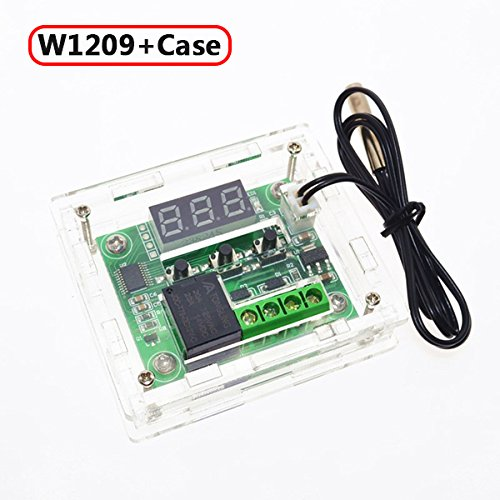 W1209 DC 12V -50 to +110 Temperature Control Switch Thermostat Thermometer+Cable+Case Enclosure Transparent Acrylic Box Cover - Clear Acrylic Thermostat