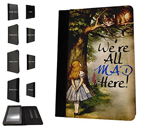 000657 - Alice In Wonderland Cheshire Cat We All Mad Here Design Amazon Kindle Fire HD 10 (2017) Flip Case Purse pouch Stand Cover