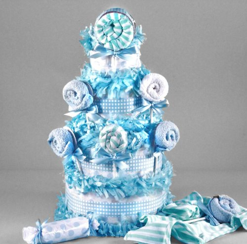 Lollipop Baby Shower Diaper Cake for Boys by Silly Philly