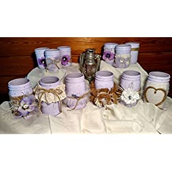 12 Piece Rustic Shabby Chic Mason Jars, Rustic Wedding Vase Centerpieces, Shabby Chic Vase Wedding Centerpieces, Lilac Distressed Mason Jars