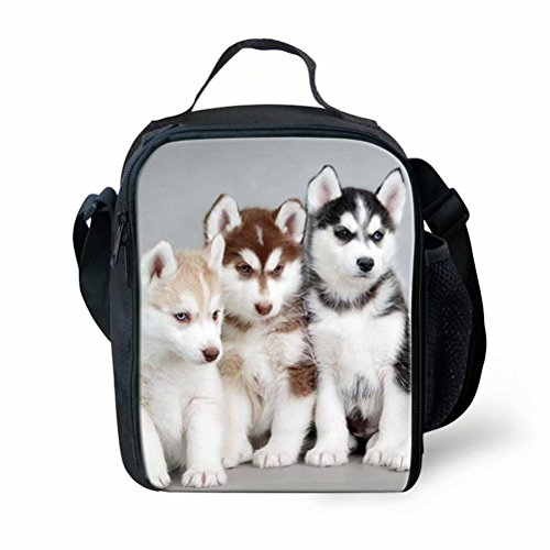Puppy Husky (Sannovo Cute Husky Puppy Lunch Bag Box Tote Insulated Washable School Cooler Bag)