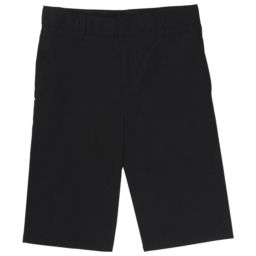 French Toast Big Boys' Basic Flat Front Short with Adjustable Waist, Black, 10