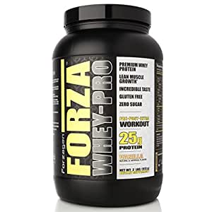 FORZAGEN Forza Whey-Pro 100% Premium 2 lbs Whey Protein, 25g Protein, 26 Servings - Vanilla | Great tasting, Build Mass and Gain Strength | Supports Muscle Development | Gain More energy and Bulk Up