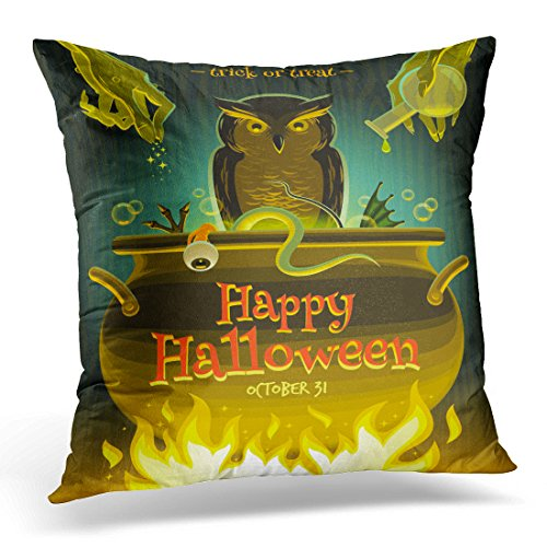 Sdamase Throw Pillow Cover Cooking Halloween Witch Cooks Poison Potion in Cauldron Brew Decorative Pillow Case Home Decor Square 18