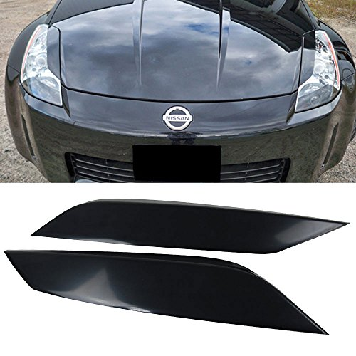 Headlight Eyelids - Eyelid Fits 2003-2008 Nissan 350Z | Unpainted ABS Headlight Eyelids Eyebrows Cover Other Color Available By IKON MOTORSPORTS | 2004 2005 2006 2007