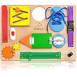 Montessori Busy Board for Toddlers - Wooden Sensory Toys - Toddler Activities for Fine Motor Skills Travel Toy - Educational Toys for 3 Year Old Boys & Girls