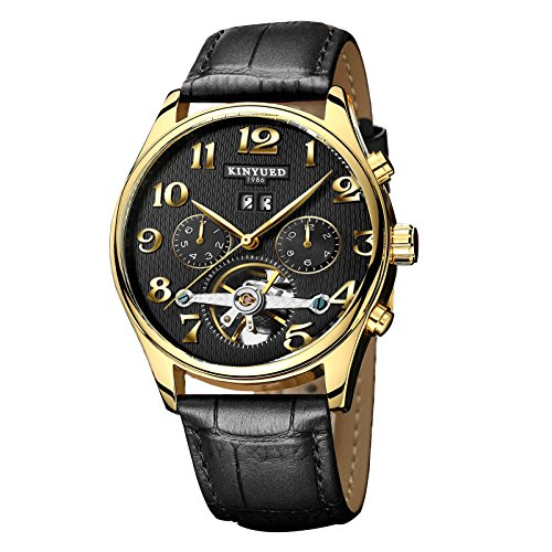 KINYUED 2017 Fully Automatic Mechanical 30M Waterproof Leather Strap Wrist Watches For Men
