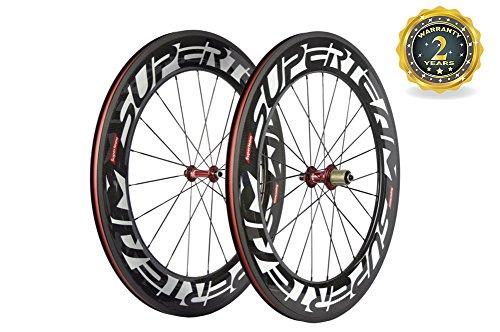Superteam 88mm Carbon Wheelset 700c Clincher Bicycle Wheel with 291 Super-Light (88mm Light)