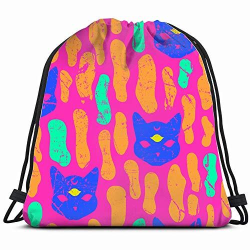 mystic cat seamles pattern halloween animals wildlifethe arts Lightweight Drawstring Bag Sport Gym Sack Bag Backpack 17X14 Inch -