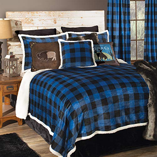 Carstens, Inc Carstens Wrangler Blue Lumberjack Buffalo Plaid Sherpa Fleece 4-Piece Comforter, Queen Bedding Set, ()