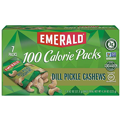 Emerald Nuts, Dill Pickle Cashews 100 Calorie Packs, 7 Count Box (Point Pickle)