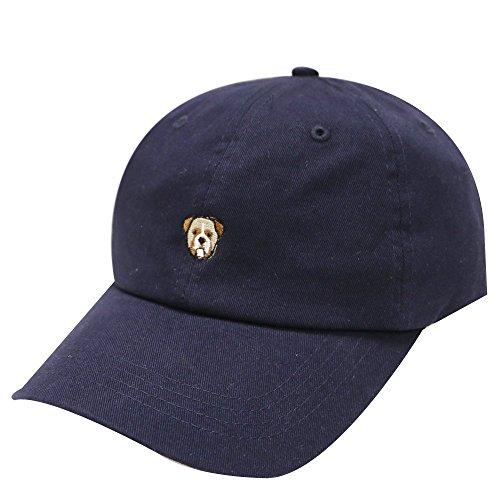 C104 Bulldog Small Embroidery Cotton Baseball Cap 8 Colors (Navy)