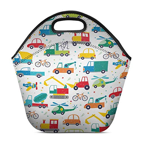 toon Cars Excavators Helicopter Tractors for Kids Lunch Bag Tote Handbag Lunchbox Insulated Neoprene Gourmet Tote Cooler Warm Pouch 11.93