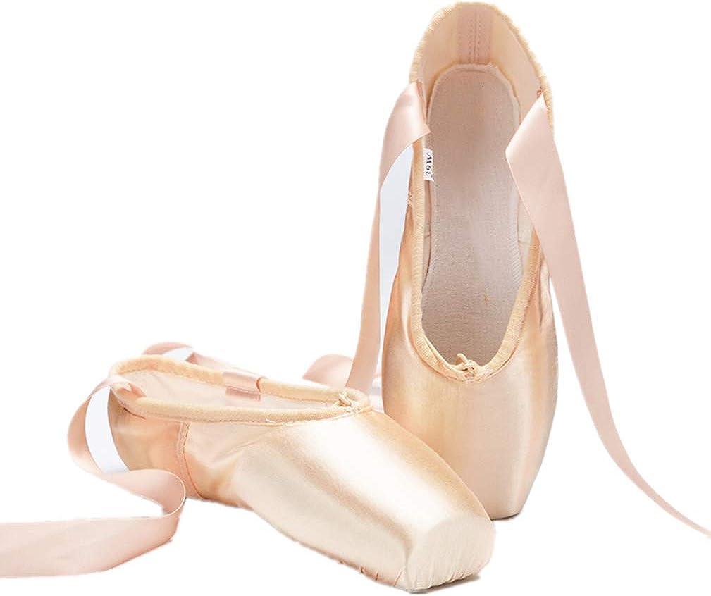 Nexete Professional Vanassa Ballet Pointe Shoes Satin Dance Slipper Flats with Toe Pad for Girl Women