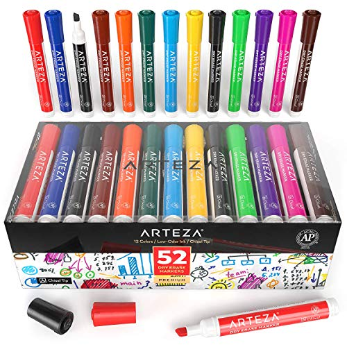 ARTEZA Dry Erase Markers, Bulk Pack of 52 (with Chisel Tip), 12 Assorted Colors with Low-Odor Ink, Whiteboard Pens is perfect for School, Office, or Home by ARTEZA (Image #7)