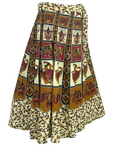 Bloc Imprimé Enrouler Autour Jupe en Coton Indien Robes