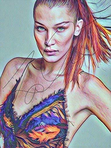 Amazon Com Bella Hadid Drawing Print Poster Hand Drawn