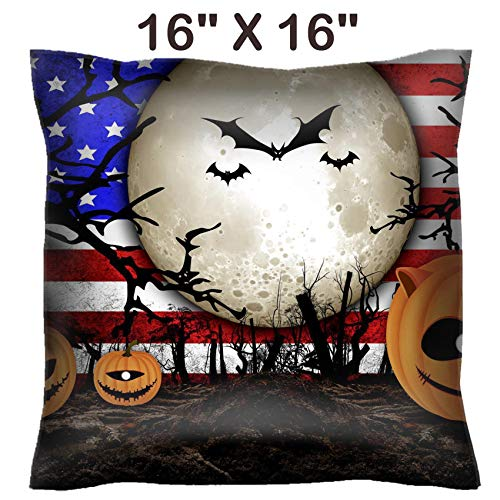 Liili 16x16 Throw Pillow Cover - Decorative Euro Sham Pillow Case Polyester Satin Soft Handmade Pillowcase Couch Sofa Bed Halloween Festival and USA Flag Background Image ID 31510480 -