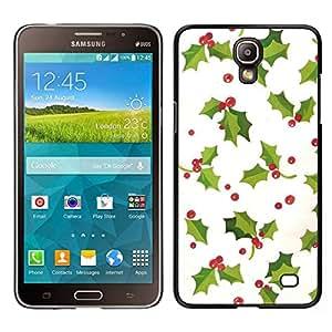 Caucho caso de Shell duro de la cubierta de accesorios de protección BY RAYDREAMMM - Samsung Galaxy Mega 2 - blanco invierno mistletoe navidad verde