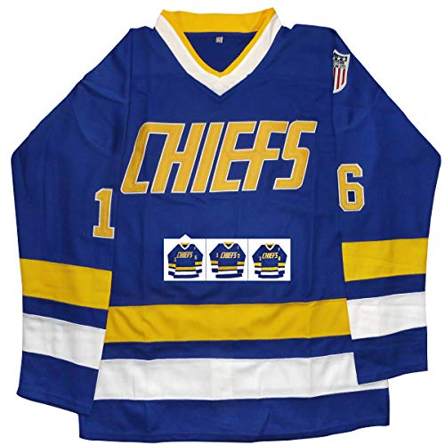 (vinking Hanson Brothers Jersey, Charlestown Chiefs 16,17,18 Slap Shot Ice Hockey Jersey (16 Blue, S))