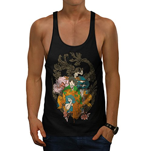 [Horror Geisha Skull Evil Japan Men S Gym Tank Top | Wellcoda] (Gothic China Doll Costume)
