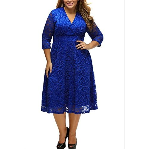 421a0b77a9a7 chic EVER-VOGUE Women s Plus Size Lace Bridal Formal Skater Dress V-Neck  Cocktail