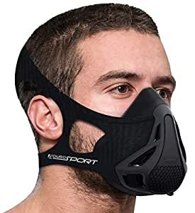 Aduro Sport Workout Training Mask - for Running Biking Training and Fitness, Achieve High Altitude Elevation Effects with 4 Level Air Flow Regulator [Peak Resistance] (Black)