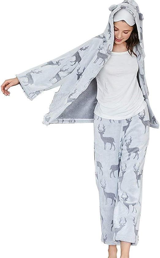 Mujer Conjunto De Pijama Invierno Otoño Larga Manga Encapuchado ...