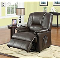 Major-Q 9010652 40 H Contemporary Style Brown Faux Leather PU Recliner with Power Lift and 8 Motors Massage Functions