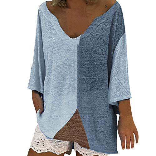 Toponly Women Casual Loose Round Neck 3/4 Short Sleeve T Shirts Summer Tops Blouses Blue ()