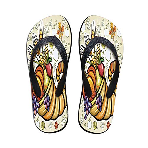 - Harvest Comfortable Flip Flops,Cornucopia Harvest Thanksgiving Image with Various Fall Yield Pumpkin Corn Decorative for Pool Garden,US Size 9