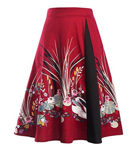 AKENA Women's Vintage Floral Print Pleated A Line Flare Skirt Knee Length Skater Midi (Pleated No Iron)