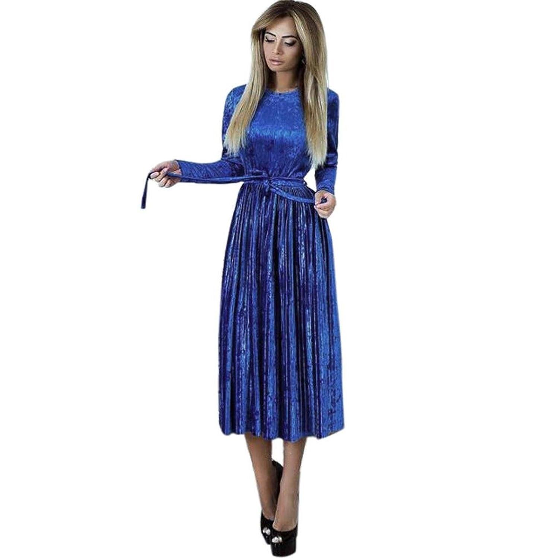 Kleider ,Frashing Damen Lange Langarm Abendkleid Maxi V-Ausschnitt ...