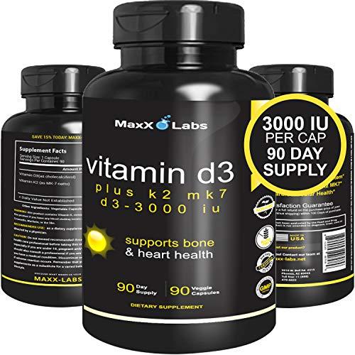 Vitamin D3 K2 MK-7 Supplements – New – Full 3,000 IU Per Capsule Plus 115mcg MK7 from Natto – Natural, Effective…